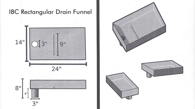 Standard Model IBC Rectangular Drain Funnel